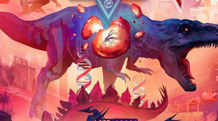 Detalle de la portada del juego de mesa Dinosaur World