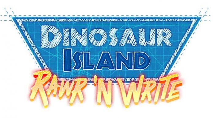 Logotipo de dinosaur island rawr and write