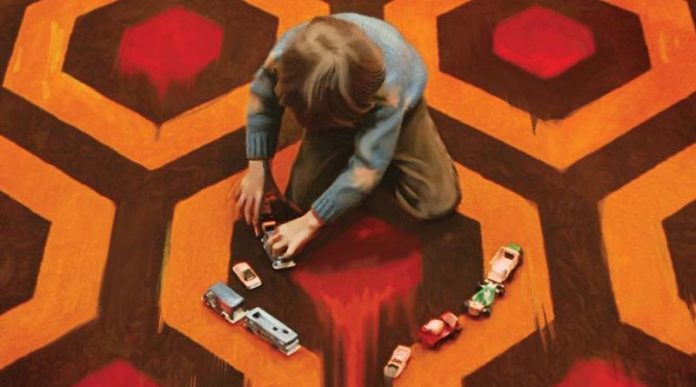 Detalle del arte de la portada del juego de mesa El Resplandor