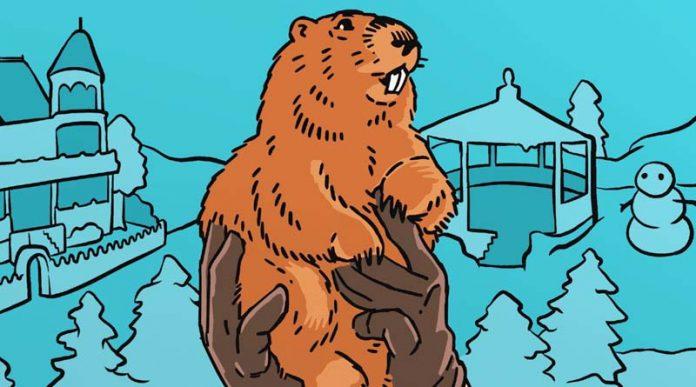 Detalle de la portada de Groundhog Day The game