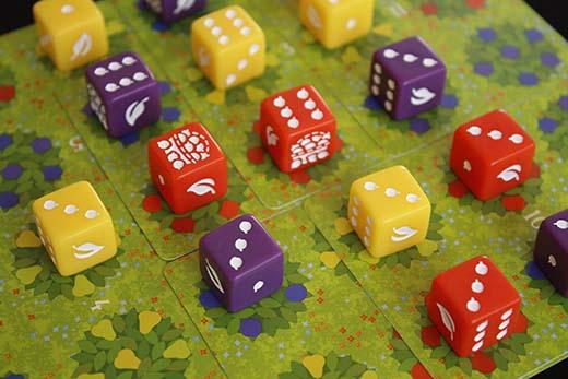 Dados del juego de mesa Orchard
