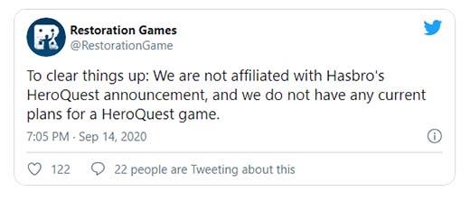 Twit de Restoration Games con respecto a Heroquest