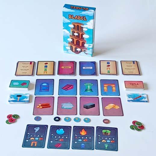 componentes del juegod e tablero Blabel