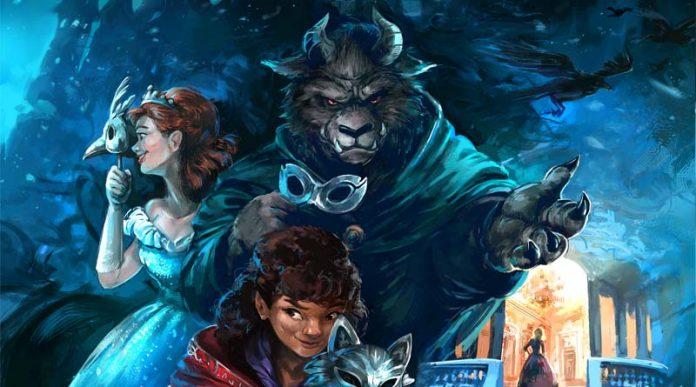 detalle de la portada de The Grimm Masquerade
