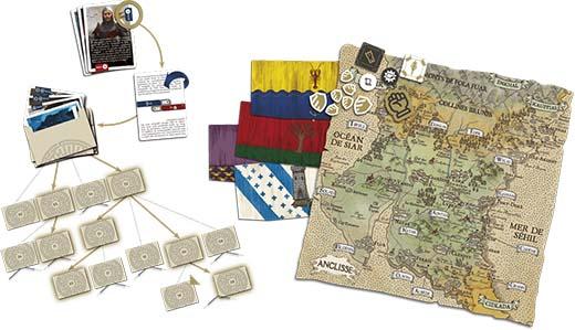 componentes del juego de tablero The King's Dilemma
