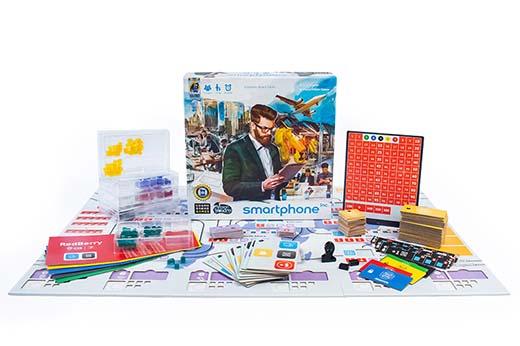 Componentes del juego de mesa Smartphone Inc
