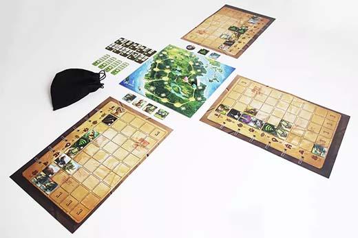 Componentes del juego de mesa sumatra