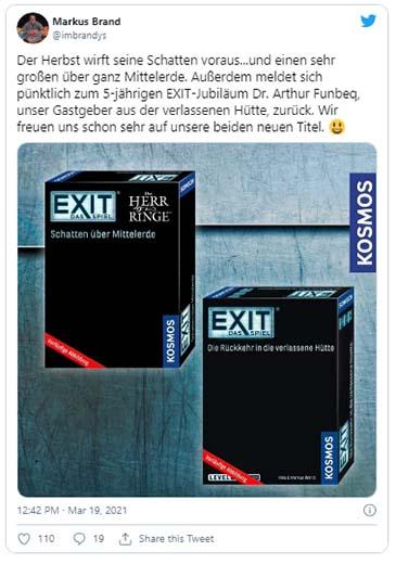Tweet de Markus Brand acerca de la publicación de Exit: The Games El señor de los anillos