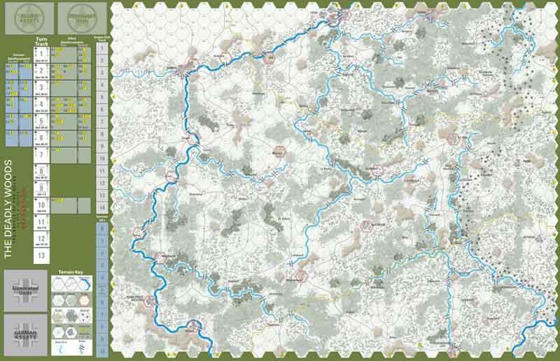 Mapa del tablero de The Deadly Woods: The Battle of the Bulge