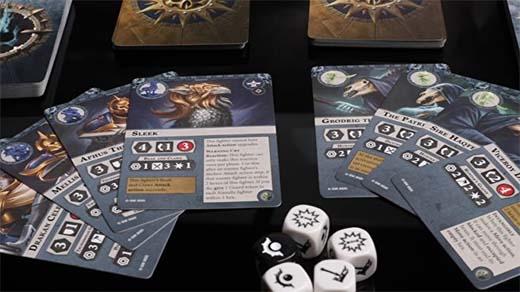 Algunos de los componentes del set de inicio de warhammer Underworlds