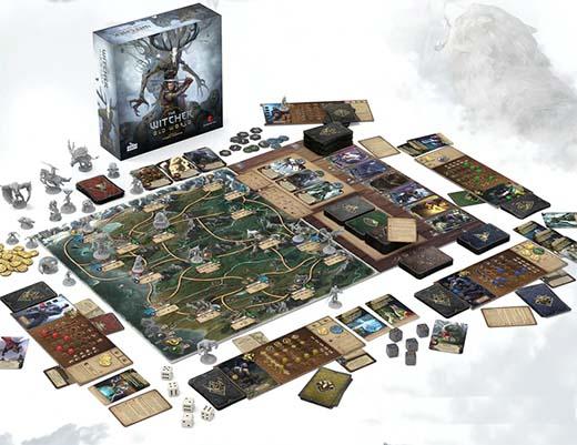 Componentes del juego de tablero the witcher old world