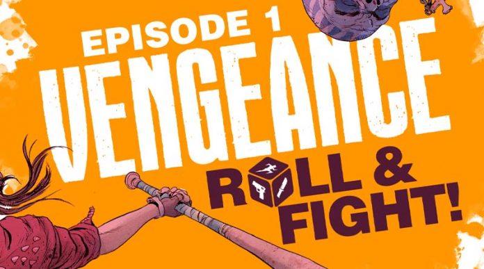 Logotipo del juego de mesa Vengeance Roll and Fight!