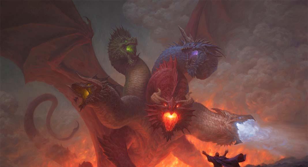 Ilustración de Tiamat para MTG Aventuras en los Reinos Olvidados