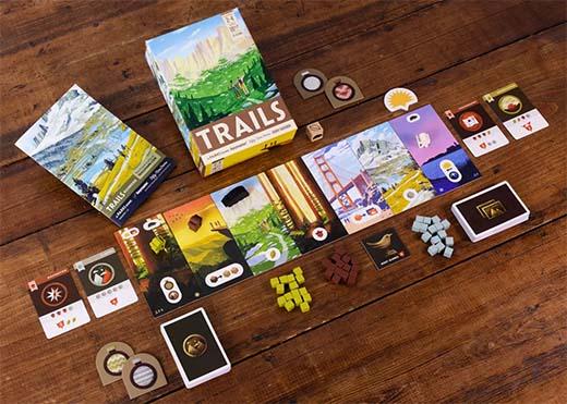 Componentes del juego de mesa Trails