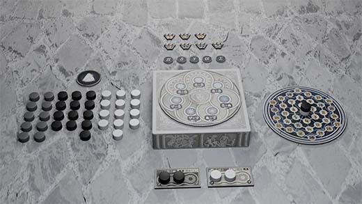Componentes del juego de tablero Tholos