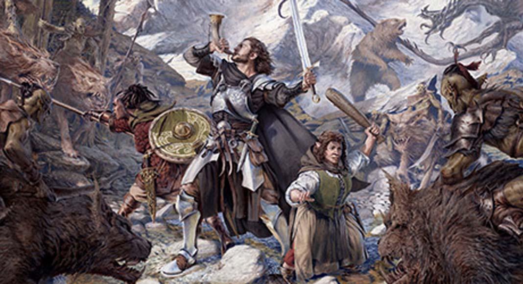 Detalle de la portada de la expansión para El Señor de los Anillos: Viajes por la Tierra Media Vientos de guerra