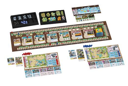 Componentes del juego de tablero Ark Nova