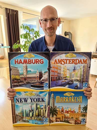 Stefand Feld con Marrakesh y el resto de juegos de la City Collection