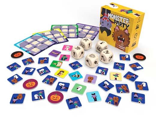Componentes del juego de mesa Monster Party